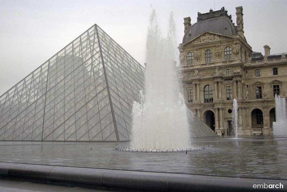 Louvre - exterior courtyard pyramids