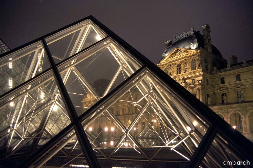 Louvre - exterior pyramid detail at night