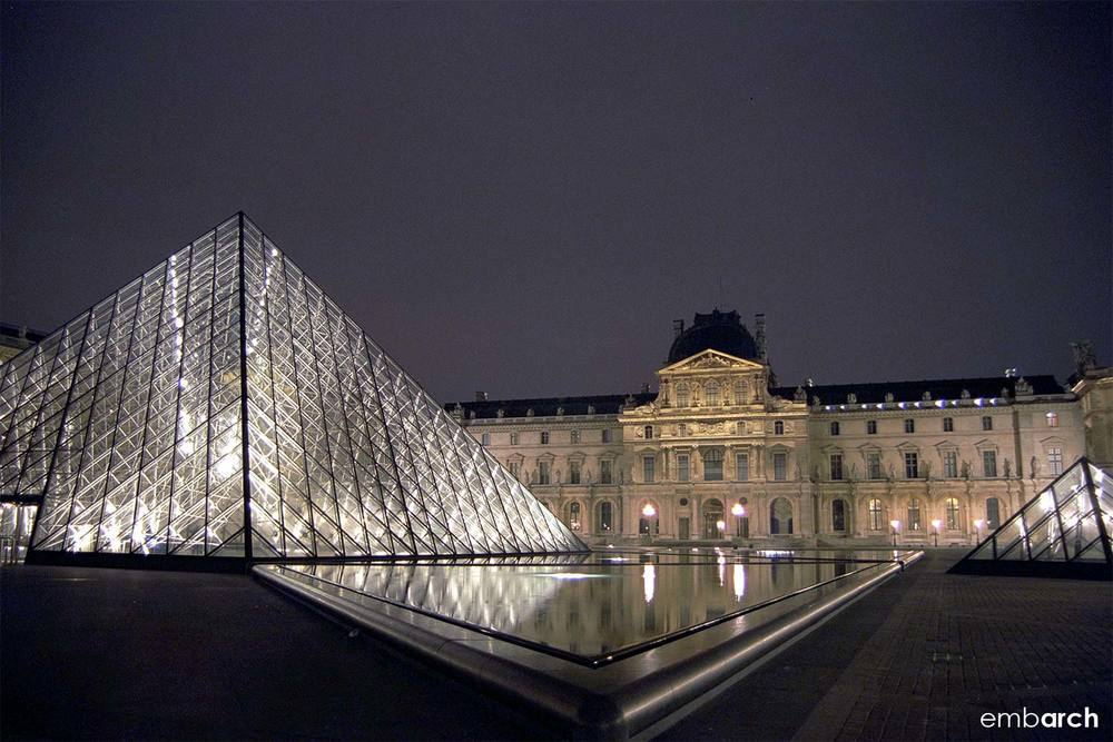 Louvre - exterior courtyard at night