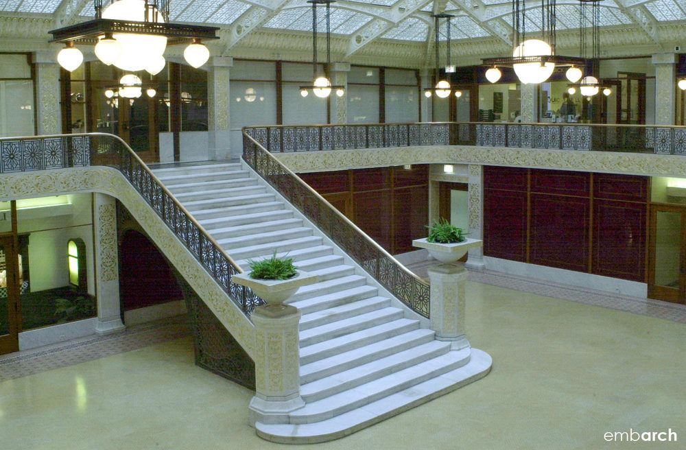 Rookery Building - interior lobby stair