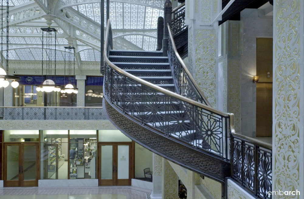 Rookery Building - interior lobby mezzanine stair