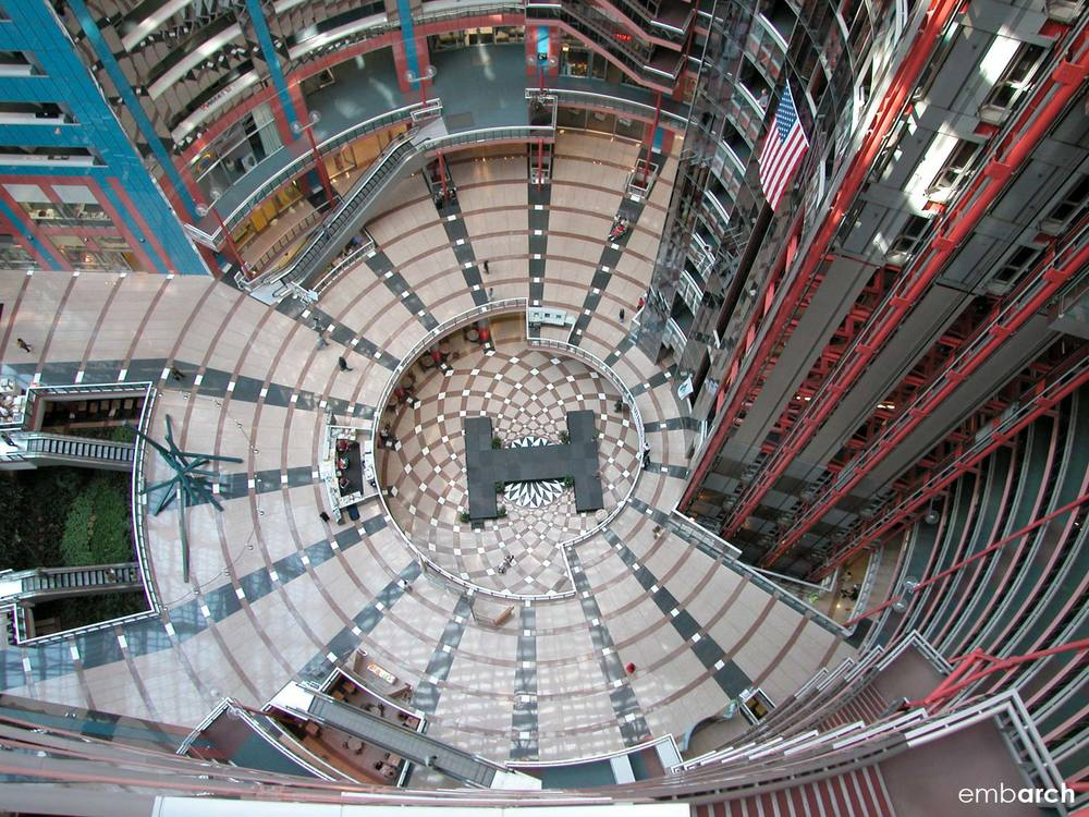 James R. Thompson Center - interior atrium view from above