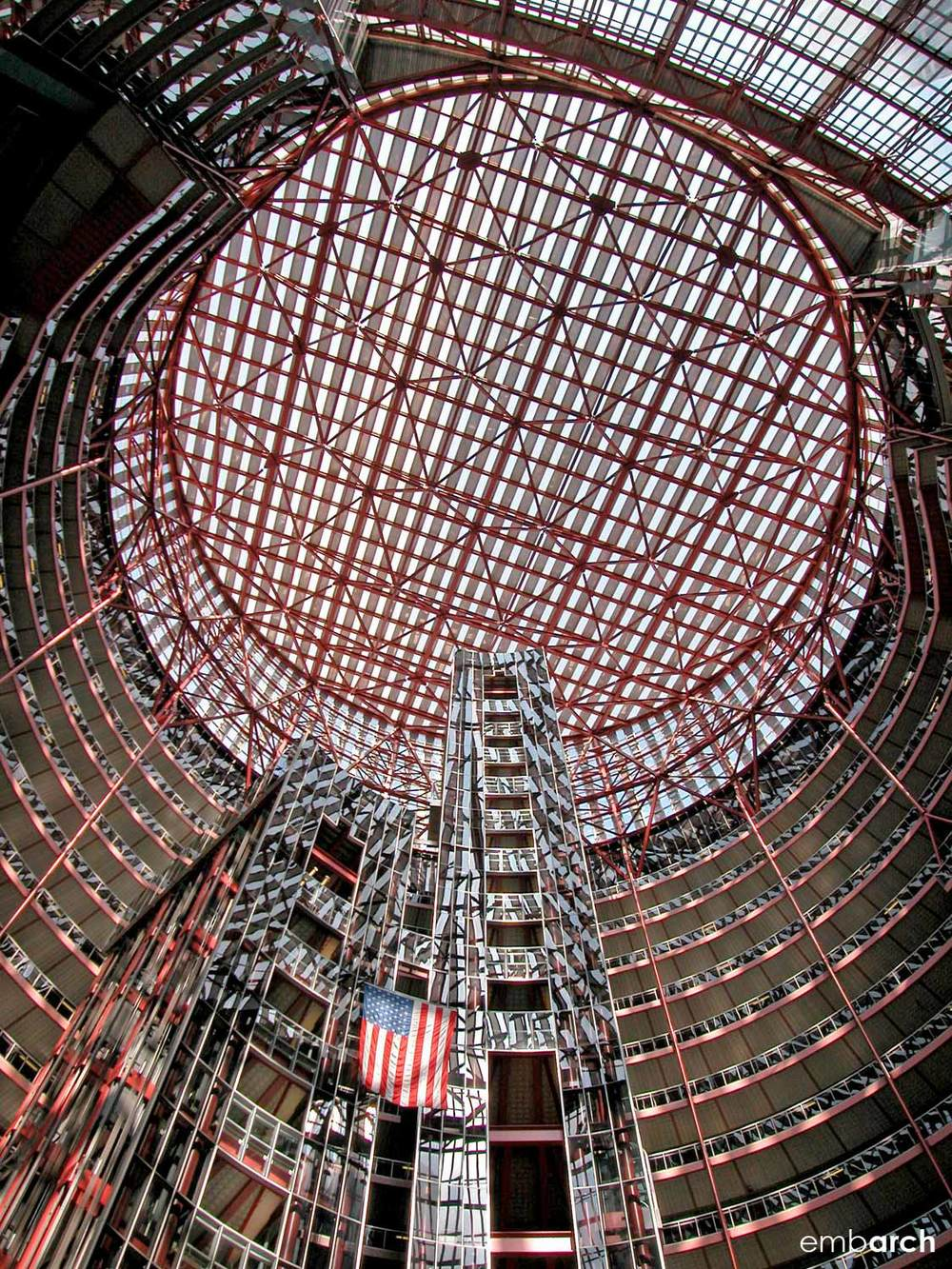 James R. Thompson Center - interior view of atrium ceiling