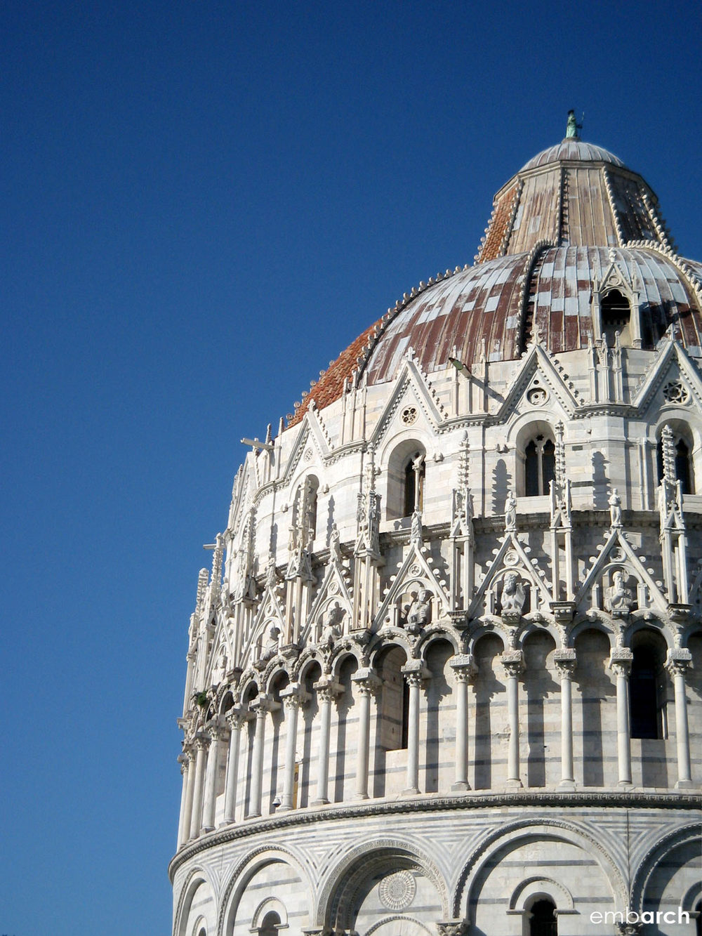 Piazza del Duomo, Pisa Italy - baptistery exterior detail