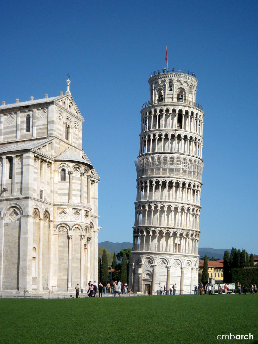 Piazza del Duomo, Pisa Italy - view of cathedral and bell tower (the Leaning Tower of Pisa)