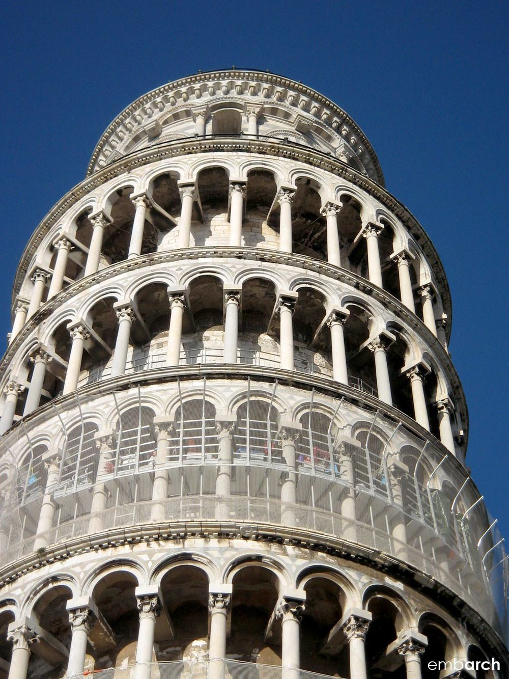"The bell tower at the Piazza del Duomo in Pisa, better known as the ""Leaning Tower of Pisa."""