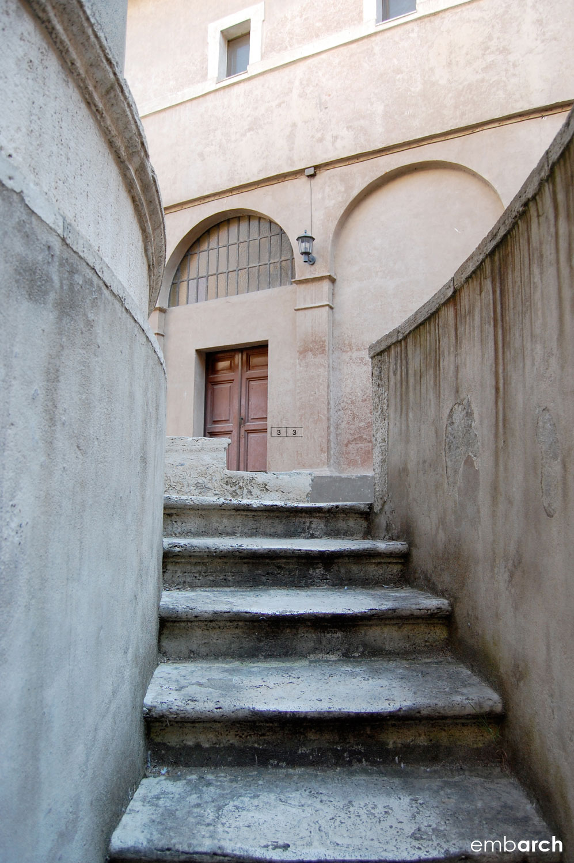 Tempietto - exterior stairway to crypt