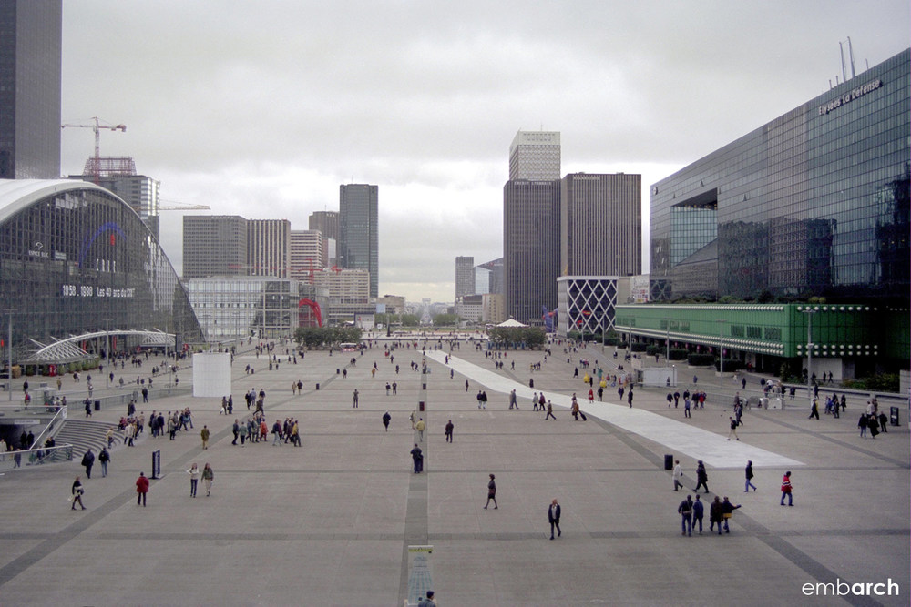La Grande Arche de la Défense - view from la Grande Arche towards Arche de Triomphe.