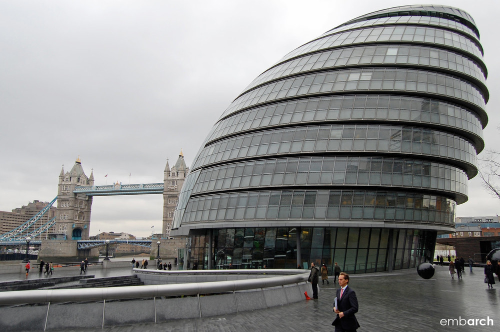 London City Hall - view of exterior and the Tower Bridge.