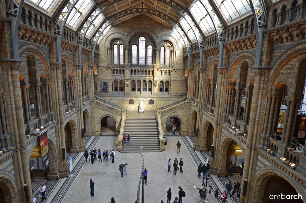 Natural History Museum, London - interior view of main hall.