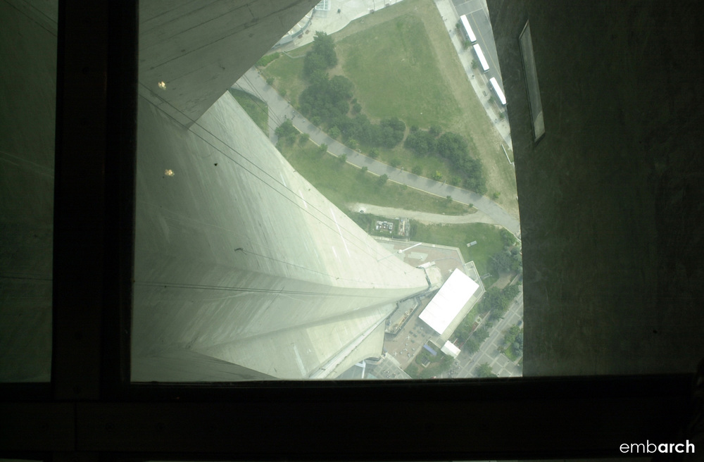 CN Tower - view from observation deck window.