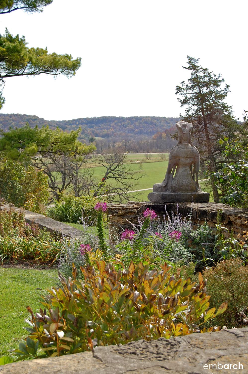 View of the Wisconsin hills from the gardens at Taliesin.