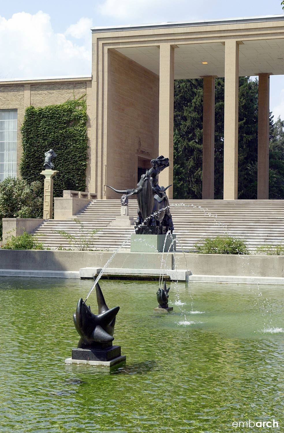 Cranbrook Academy of Art - exterior and fountain