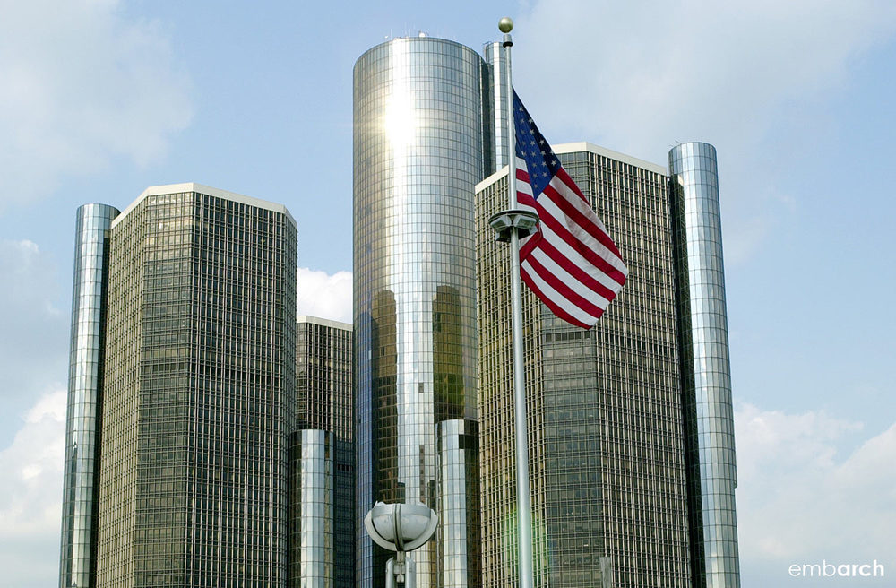 GM Renaissance Center - view of exterior