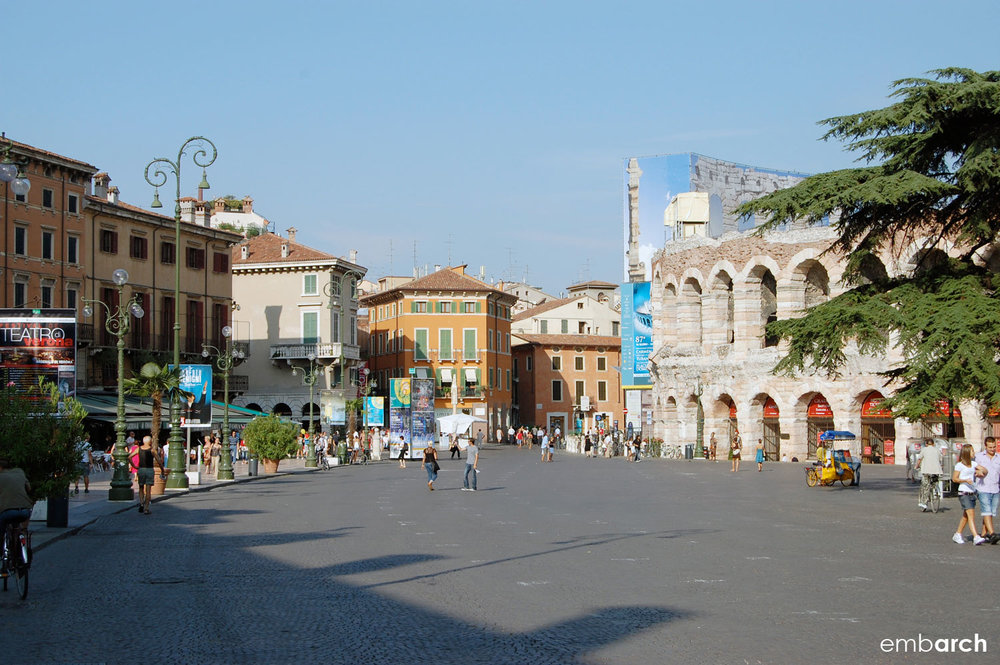 The shops and old Roman arena that surround Piazza Brà in Verona, Italy.