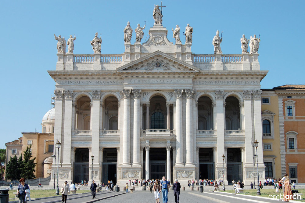 Papal Archasilica of St. John Lateran - view of main facade exterior