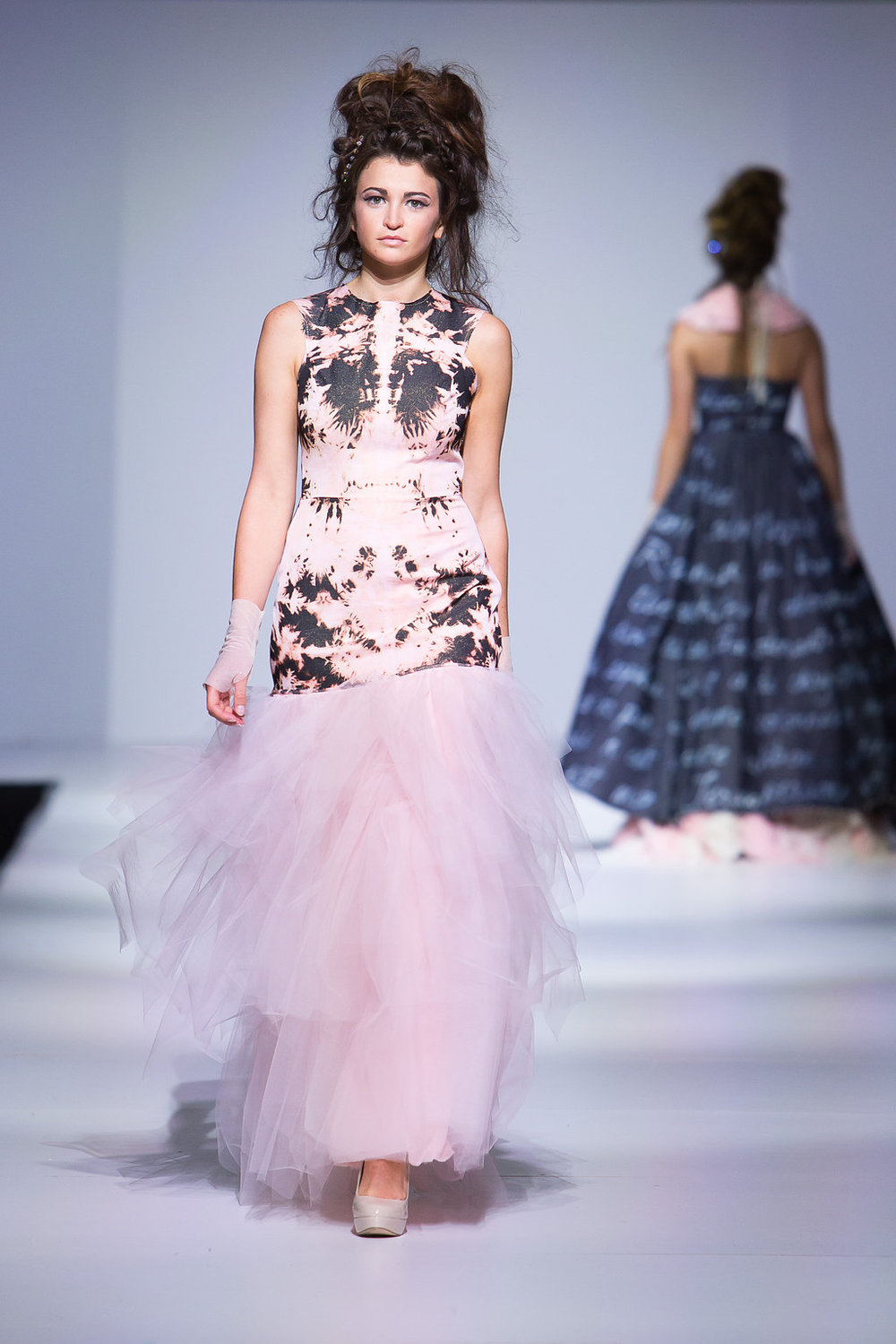 Black glitter denim, bleached and then overdyed pink, with blush pink tulle skirt