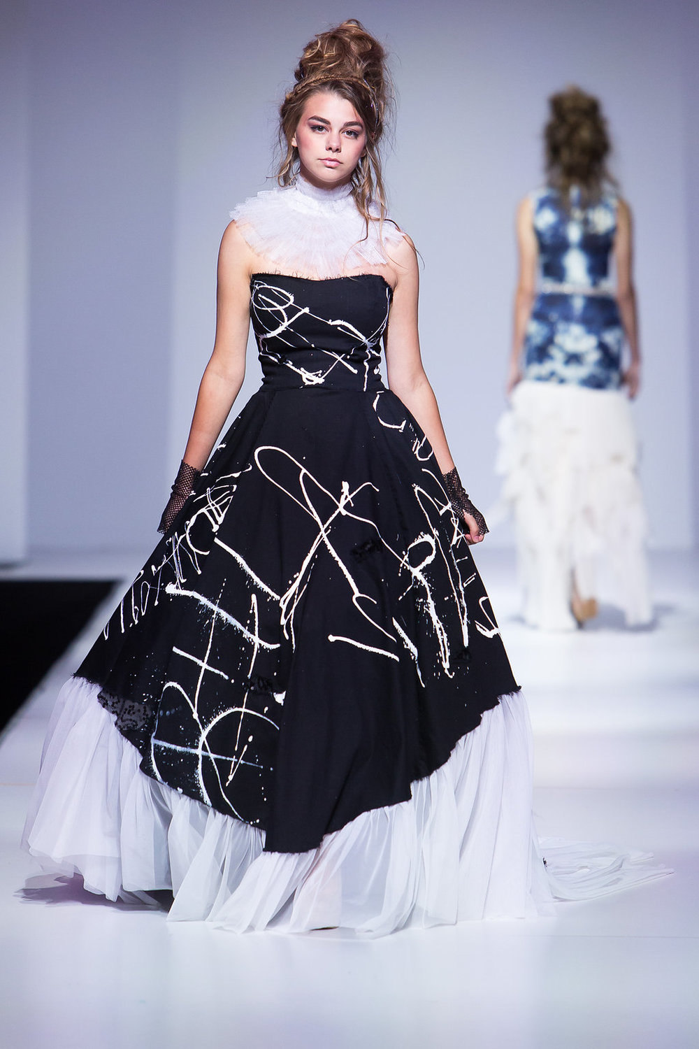 Black graffiti gown, handpainted, with a handmade hoop skirt