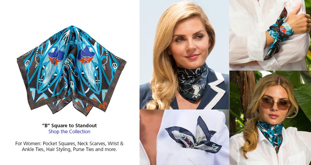 vasi moda b square for women neck scarf wrist tie pocket square
