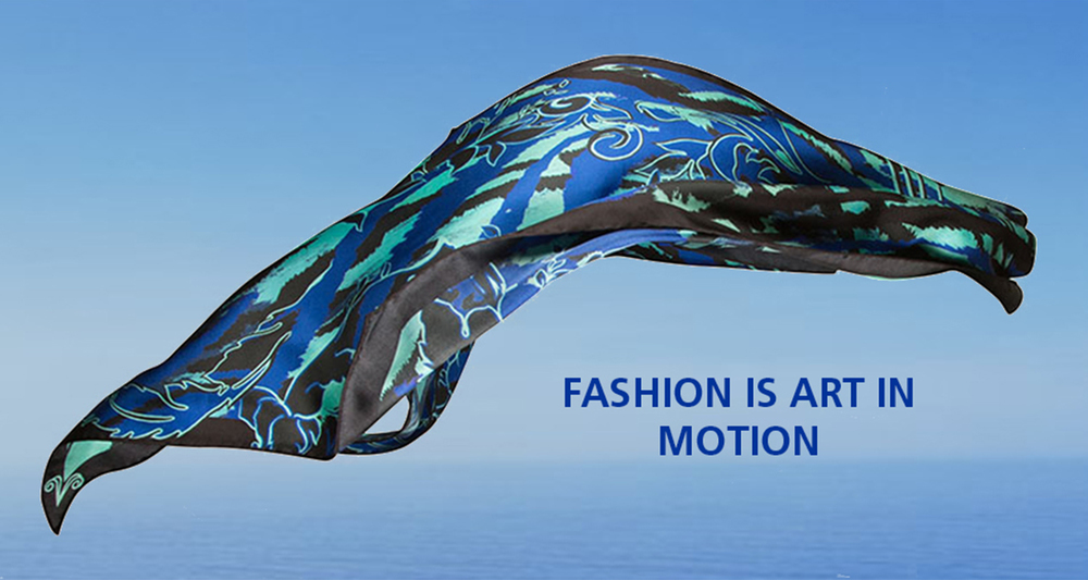 vasi moda silk scarf fashion is art in motion cobalt