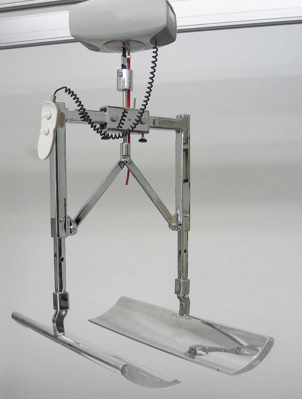 COMPLETE UNIT of the patented BodyScoop  shown hanging in place from rail system