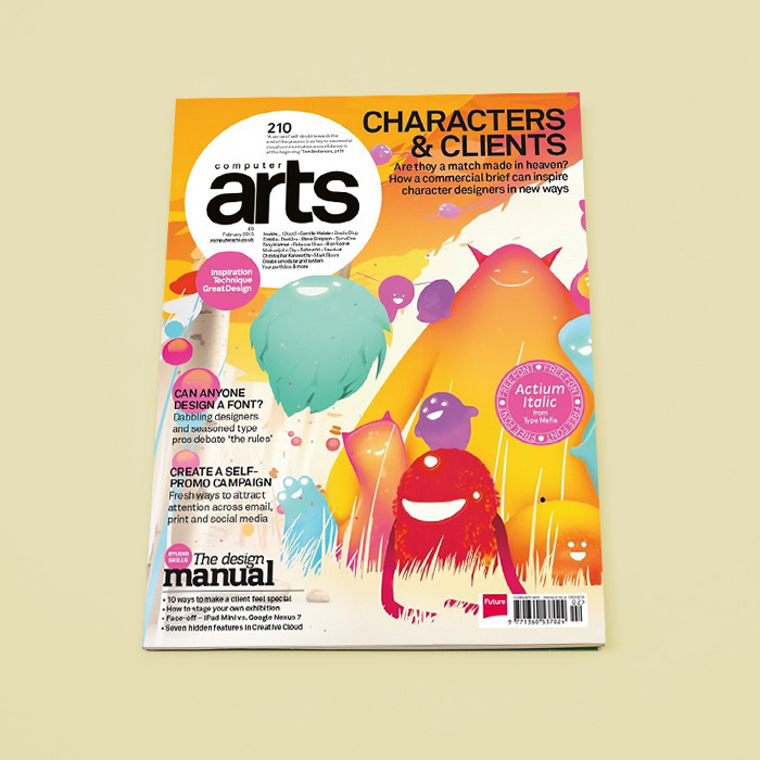 Computer Arts Magazine with colourful monsters on it