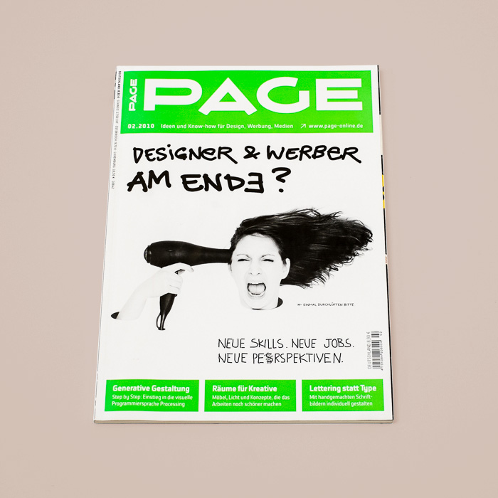 Page Magazine Cover Design with a neon green and a photo of a crazy girl with a hairdryer