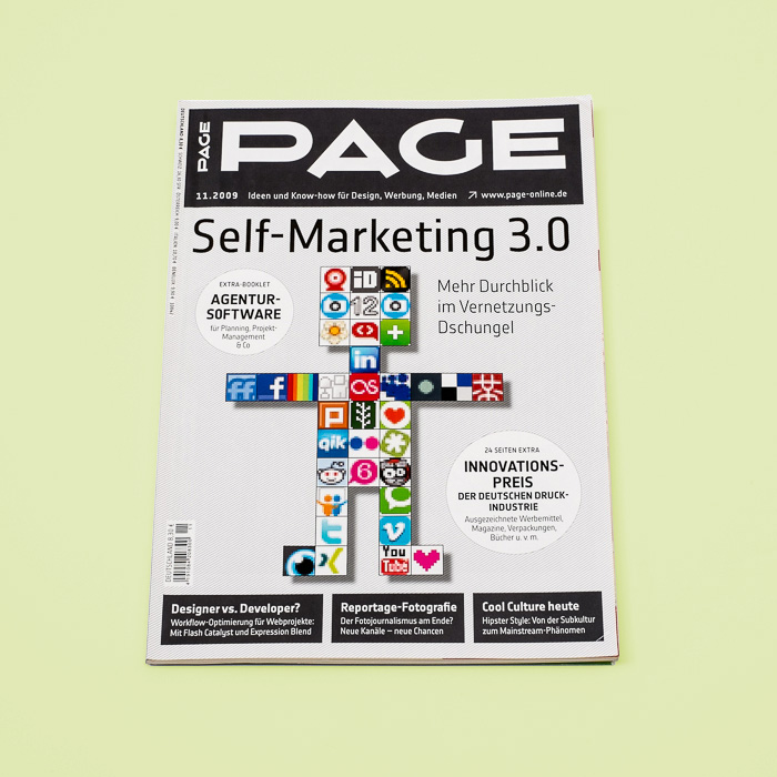 Page Magazine with a robot made of social media icons