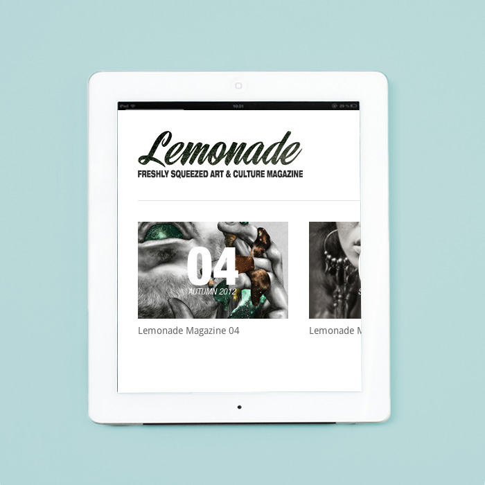 Lemonade Magazine Website on a white iPad