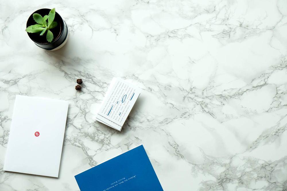 Sukkulente auf Marmor mit Baumsamen und Briefpapier.