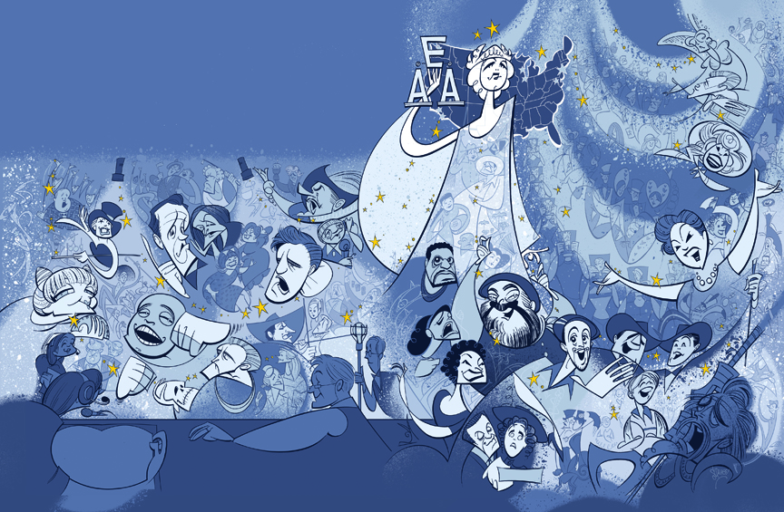Pre-layout illustration for the cover of the Actors' Equity Association's centennial celebration coffee table book,   Performance of the Century  .