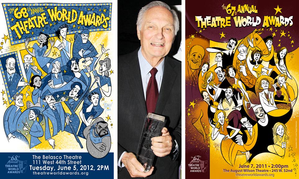 L: The Theatre World Awards poster, 2012. C: Alan Alda with his John Willis Lifetime Achievement Award. R: The Theatre World Awards poster, 2011.