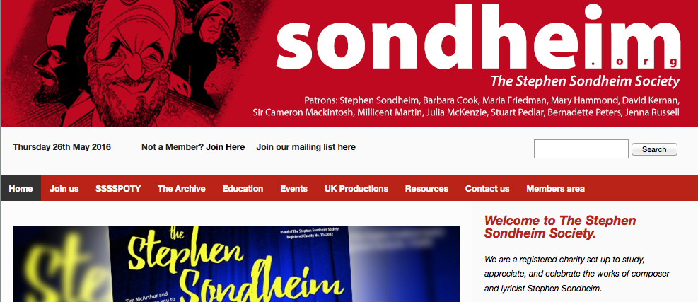 The header for the Stephen Sondheim Society website including my illustration of Mr. Sondheim.