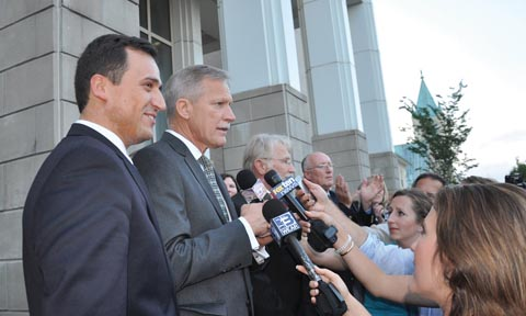 Pace (Fla.) High School Frank Lay (pictured on the right) was one of two school administrators forced to appear at a contempt of court hearing in a controversial legal battle over prayer in school.