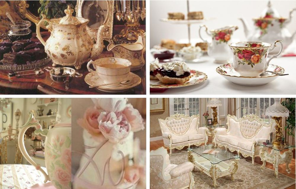 Elements: Decorative environment and tea set in Victorian style.  Color: Bright and elegant color