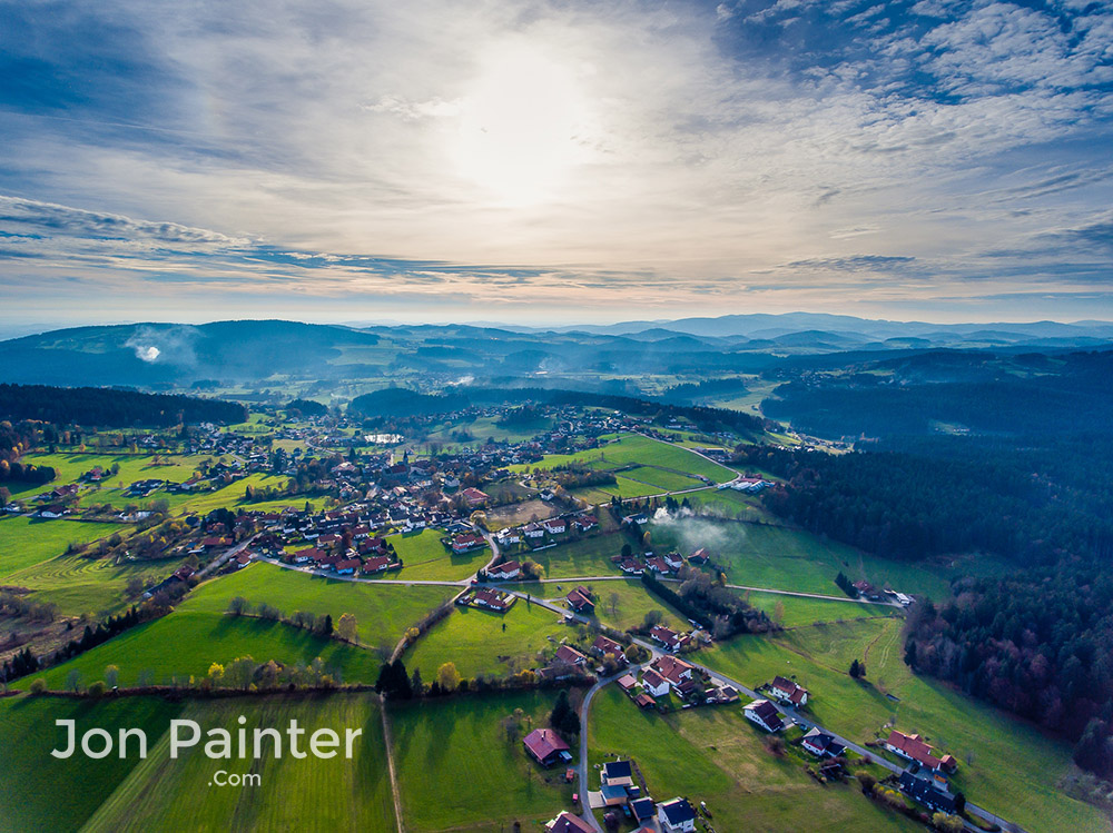 A drone flight over Bavaria on a crisp autumn day