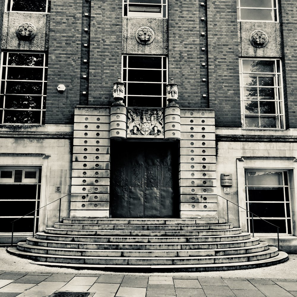 Doors to the old Leicester Polytechnic