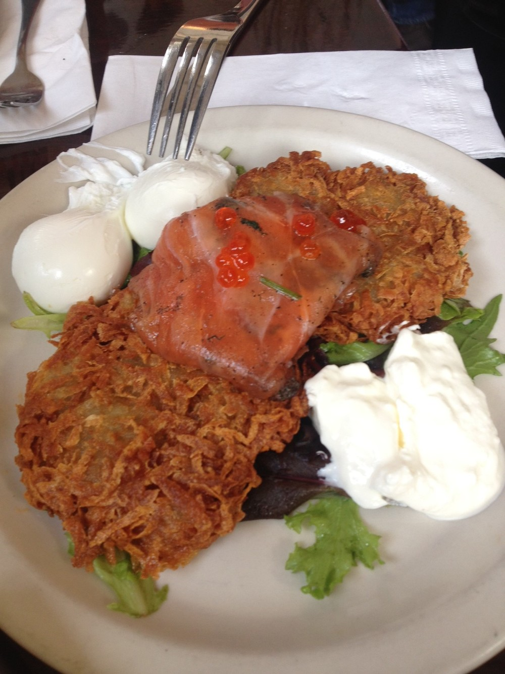The Aristocrat - Potato Pancakes with Poached Eggs and Smoked Salmon