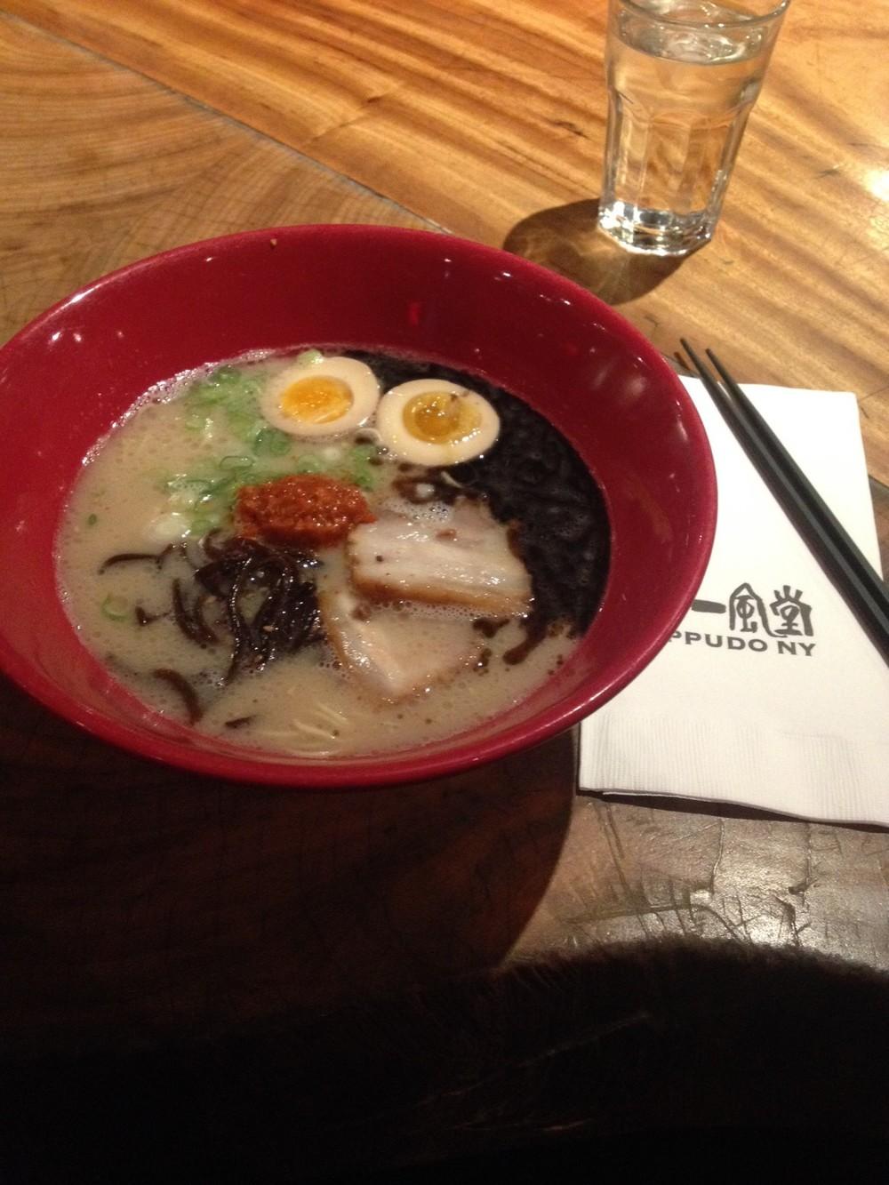 Akamaru Modern with Nitamago (seasoned soft boiled egg)