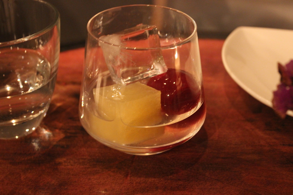 "Apricot Tequila with ""Margarita Cubes"" - seasonal fruit, citrus and small salt cube - instant party!"