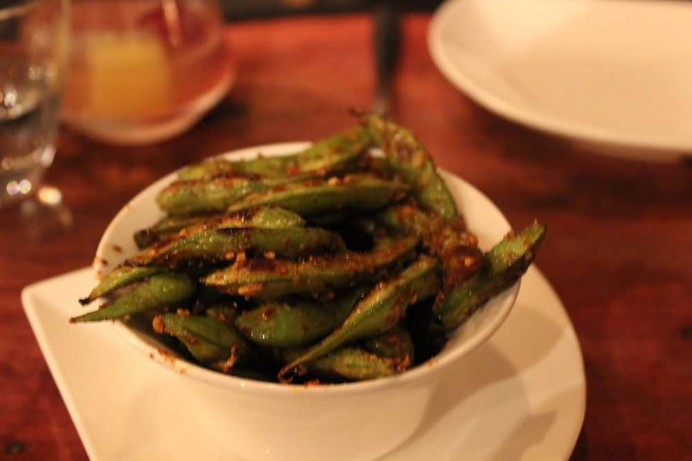 Course 2: Mexico-City Style Sautéed Edamame, Arbol Chile, Lime, Toasted Garlic