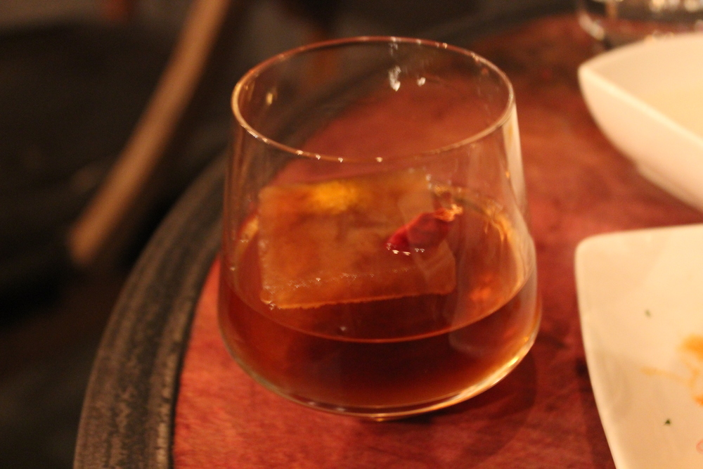 "Bourbon'd Tequila with ""Old Fashion"" Cube"