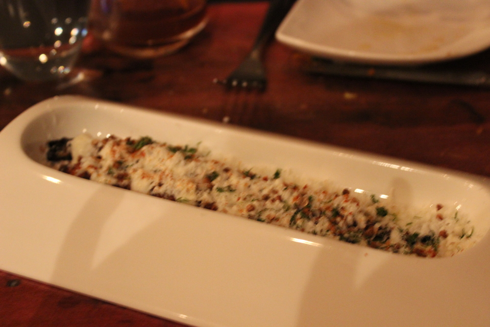 "Course 9: Grilled Carrots ""Elote"" with Honey Butter, Lime Crema, Coriander, Feta, Dill"