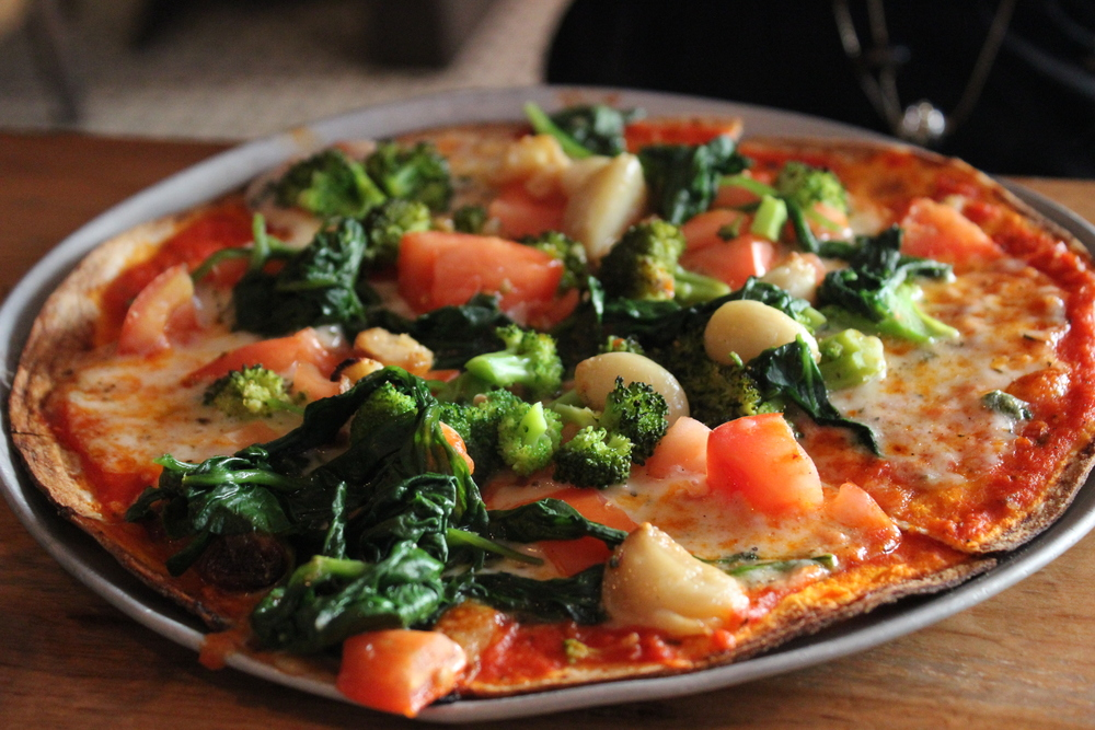 Guardino - Marinara Sauce & Cheese, Broccoli, Fresh Tomatoes, Sweet Red Onions (kept those off), Roasted Garlic, Spinach
