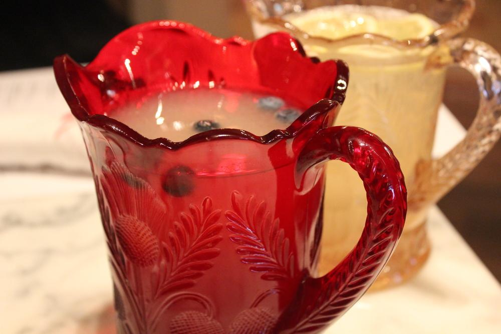 Punch! Elderflower Lychee Sangria (red) and Lemon Rosemary Vodka (pink)