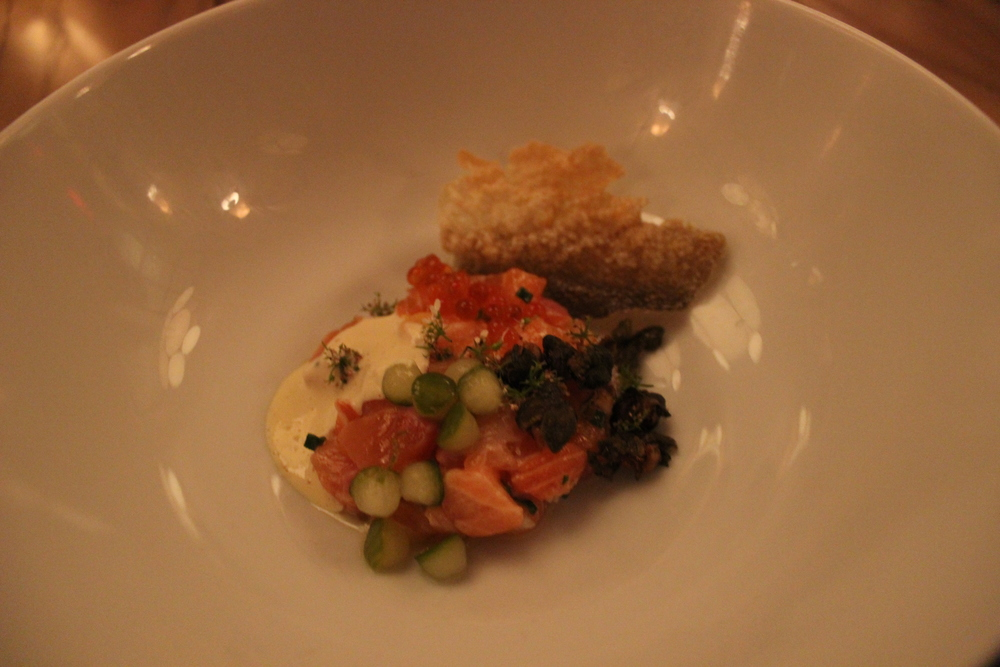 Sea Trout Tartare, Traditional Accompaniments, Crispy Trout Skin
