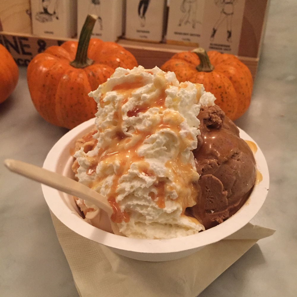 Sundae: Spiced Pumpkin and Strong Coffee with Salted Caramel and Whipped Cream