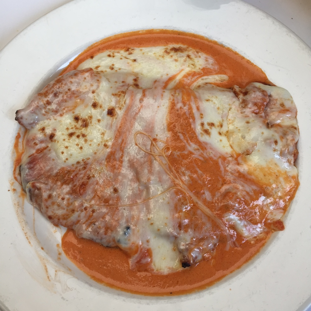 THIN Veal Parmigiana with Vodka Sauce
