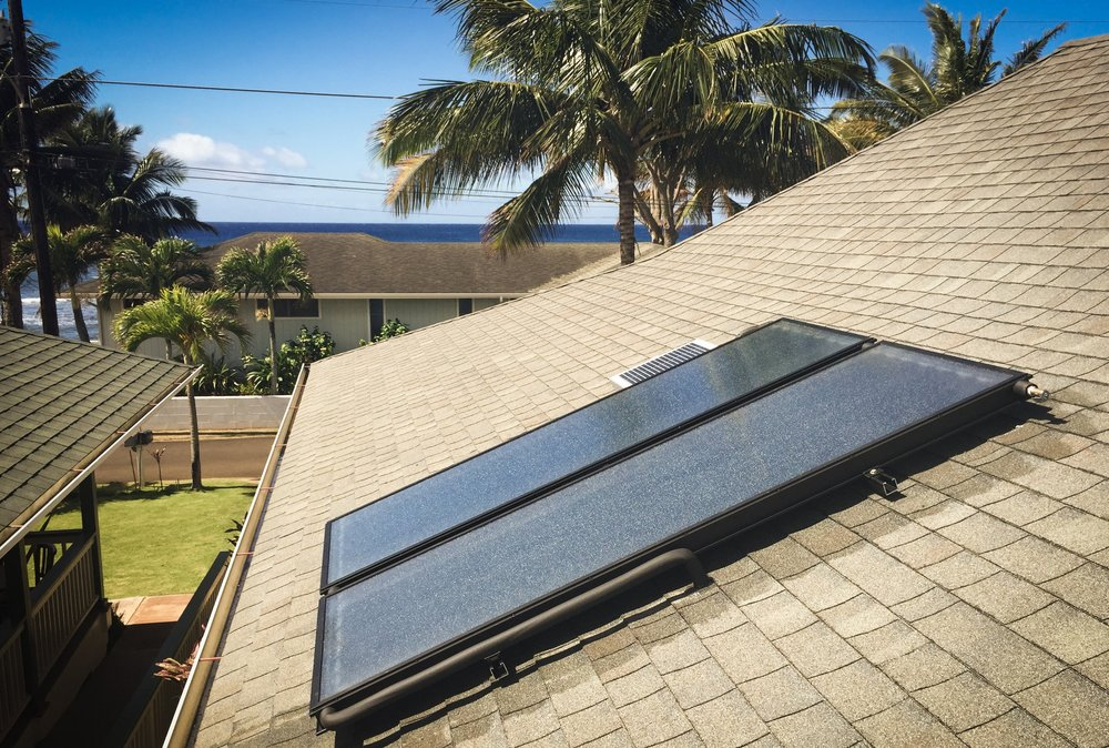 Cold Water Is Pumped Thru Pipes In The Solar Water Panels Mounted On Top Of  Your Roof And Is In Turn Heated From The Sun.