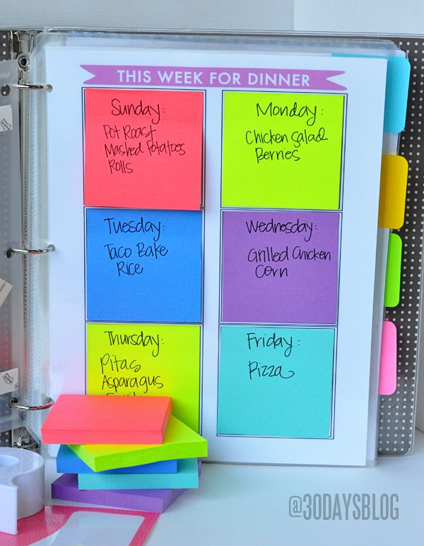 An easy way to plan out weekly meals in advance.